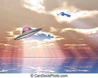 Flying saucer - u fo flying on sunbeams background