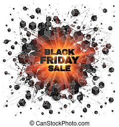 Black friday sale abstract shaded cubes red explosion -...