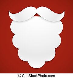 White paper Santas beard with shadow at dark red background...