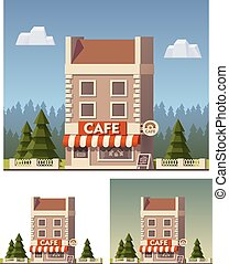 Vector cafe building