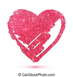 Pink shining glitter heart isolated on white