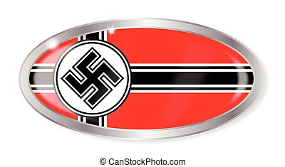 Nazi Flag Oval Button - Oval silver button with the Nazi...