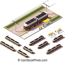 Vector isometric tramways - Isometric set representing...