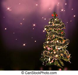Christmas tree on star sky - lighten Christmas tree on blue...