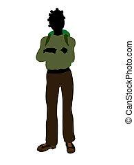 African American Teen Hiker Silhouette - African american...