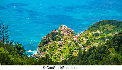 Panoramic view of beautiful and famous Manarola, Cinque Terre, Italy