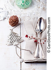 Christmas and New year table place setting with decorations....