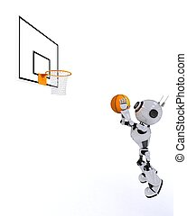 Robot Basketball player - 3D Render of a Robot Basketball...