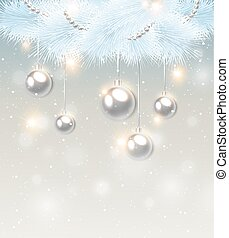 White pine branch and decorations - Christmas background...