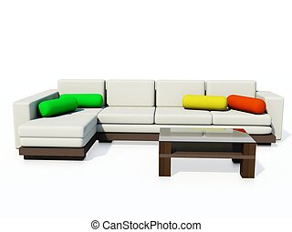 Modern couch isolated on white