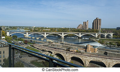 Mississippi River in Minneapolis - Overlooking the...
