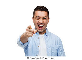 angry man shouting and pointing finger on you - anger,...