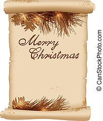 Pine branch and vintage scroll - Christmas background with...