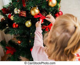 cierre, Arriba, de, niño, Decorar, navidad,...