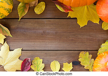 frame of many different fallen autumn leaves - nature,...