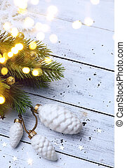 art Christmas background; christmas tree light - Christmas...