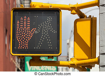 New York traffic light. pedestrian stop sign. - Don't walk,...