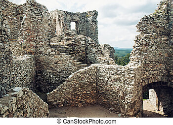 Stairs in ruin of castle Hrusov, Slovakia, cultural heritage...