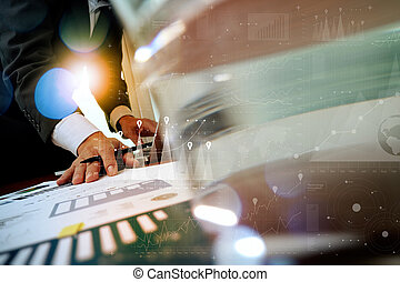 close up of business man hand working on laptop computer...