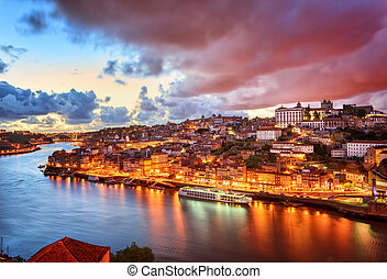Dramatic sunset in Porto, Portugal