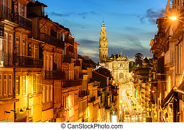 Panorama of Porto with Dos Clerigos cathedral at night,...