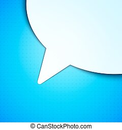 Talk Bubble Background - White paper talk bubble on blue...