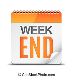 Week End Calendar - Calendar with week end text on white...
