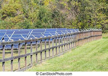 Fenced in solar power farm