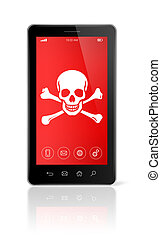 smartphone with a pirate symbol on screen. Hacking concept -...
