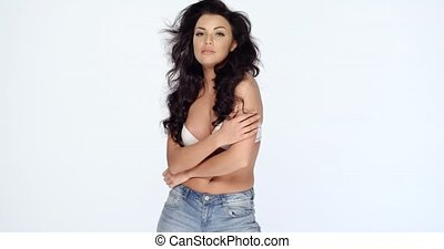 Sensual Woman in White Bra and Jeans - Three Quarter Shot of...