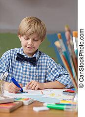 Cute boy in kindergarten
