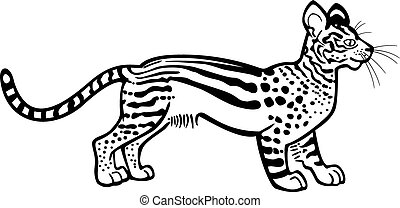 Imaginary Wildcat - vector line drawing of a fantastical,...