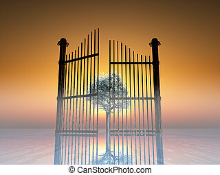 paradise - rusty opened gate on blossoming cherry tree