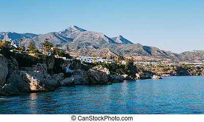 Resort town of Nerja in Spain View from Balcon de Europa -...