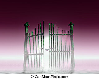 paradise door - fantasy illustration, opened rusty gate on...