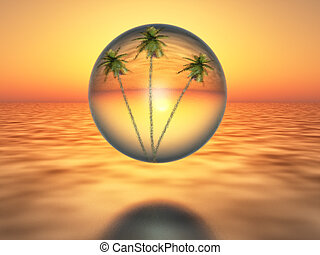 oasis - palm trees inside a bubble over the desert, on...