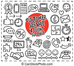 Doodle Customer Service icons set. Freehand drawn graphic...