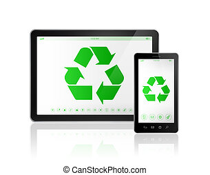 Digital tablet PC with a recycle symbol on screen. environmental conservation concept