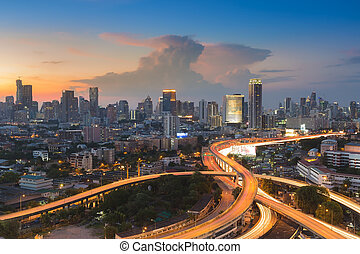 Cityscape after sunset - Sunset of Cityscape with highway...