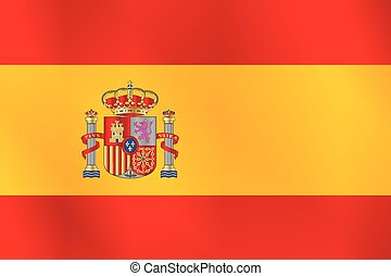 The Spanish Flag - The flag of spain with icons over red and...