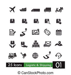 Set of 25 logistic shipping transport icons