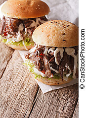 Tasty Pulled pork sandwich with coleslaw and sauce closeup....