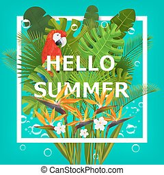 Hello summer background with tropic