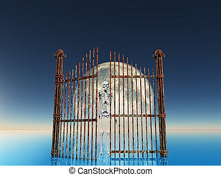 nightmare - opened rusty gate on full moon background