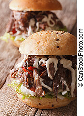 Pulled pork sandwich with vegetables and sauce close-up....
