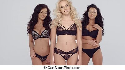 Three shapely fashion models in black lingerie
