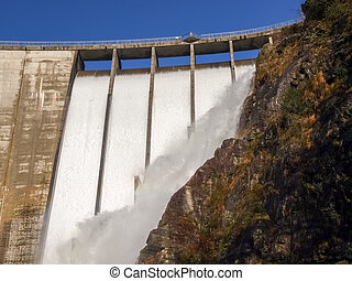 Dam of Contra Verzasca, spectacular waterfalls from the dam...