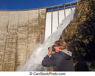 Dam of Contra Verzasca, sunknowed fotograph near the...