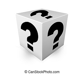 Black question marks on white box Illustration - Black...