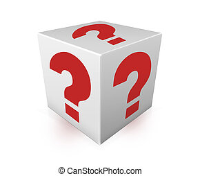 Red question marks on white box Illustration - Red question...